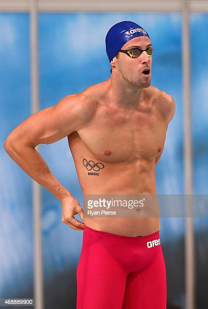 James Magnussen of Australia prepares for the Men's 50m Freestyle Semi Final during day six of the Australian National Swimming Championships at...
