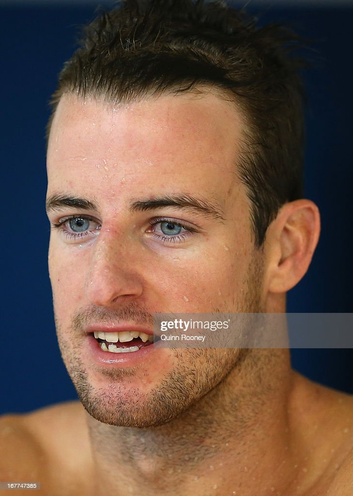 James Magnussen of Australia speaks to the media after racing in the Men's 100 Metre Freestyle Semi Final during day four of the World Swimming Championships at SA Aquatic and Leisure Centre on April 29, 2013 in Adelaide, Australia.