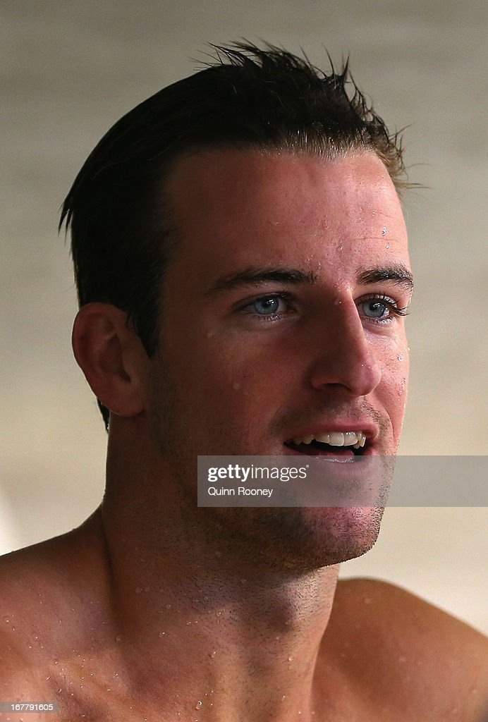 James Magnussen of Australia speaks to the media after winning the Men's 100 Metre Freestyle Final during day five of the Australian Swimming Championships at SA Aquatic and Leisure Centre on April 30, 2013 in Adelaide, Australia.
