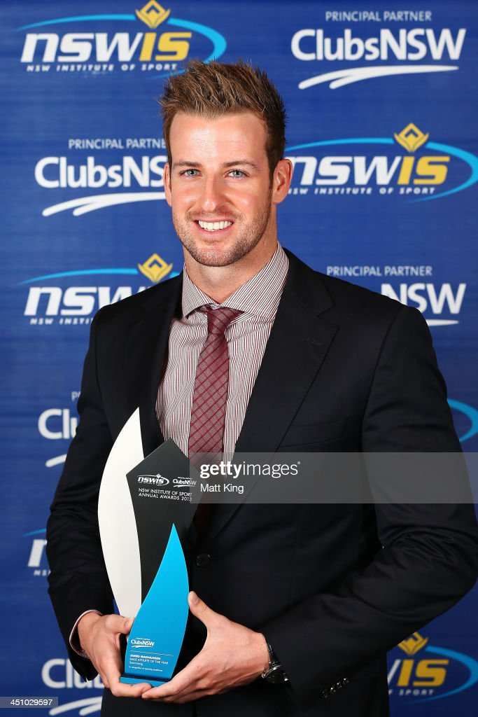 <a gi-track='captionPersonalityLinkClicked' href=/galleries/search?phrase=James+Magnussen&family=editorial&specificpeople=7229851 ng-click='$event.stopPropagation()'>James Magnussen</a> poses after winning the Male Athlete of the Year Award during the 2013 NSWIS Awards at Royal Randwick Racecourse on November 21, 2013 in Sydney, Australia.