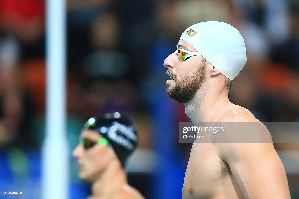 <a gi-track='captionPersonalityLinkClicked' href=/galleries/search?phrase=James+Magnussen&family=editorial&specificpeople=7229851 ng-click='$event.stopPropagation()'>James Magnussen</a> prepares for the 100 Metre Freestyle during the 2016 Australian Swimming Grand Prix at the Chandler Sports Centre on July 1, 2016 in Brisbane, Australia.