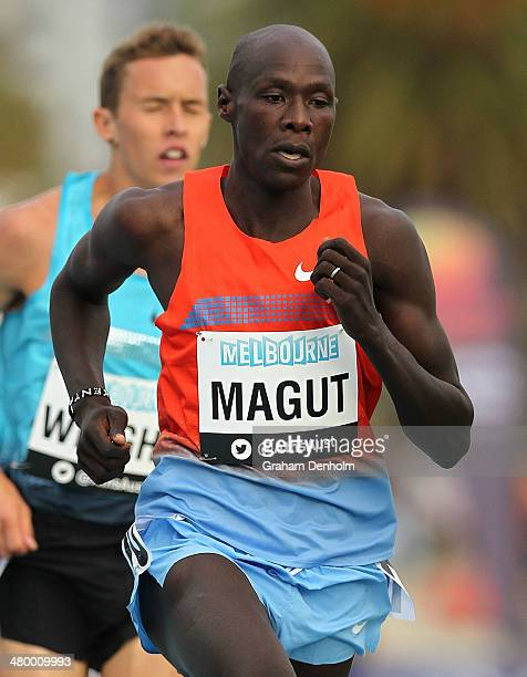 James Magut of Kenya competes in the men's 1500 metres open during the IAAF Melbourne World Challenge at Olympic Park on March 22 2014 in Melbourne...