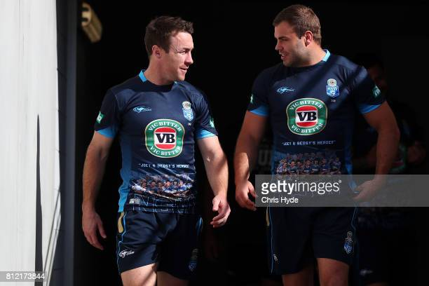 James Maloney and Wade Graham during the New South Wales Blues State of Origin training session at Cbus Super Stadium on July 11 2017 in Gold Coast...