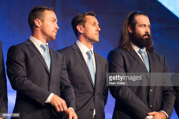 James Maloney Mitchell Pearce and Aaron Woods stand on stage during the New South Wales State of Origin team announcement at The Star on May 22 2017...