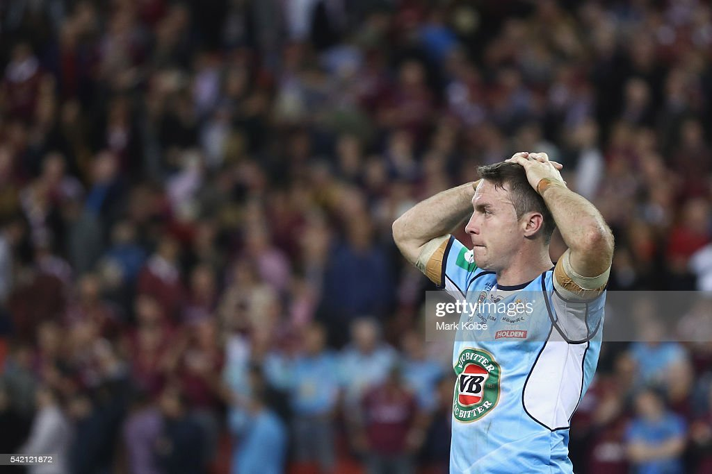 James Maloney of the Blues looks dejected after defeat during game two of the State Of Origin series between the Queensland Maroons and the New South Wales Blues at Suncorp Stadium on June 22, 2016 in Brisbane, Australia.