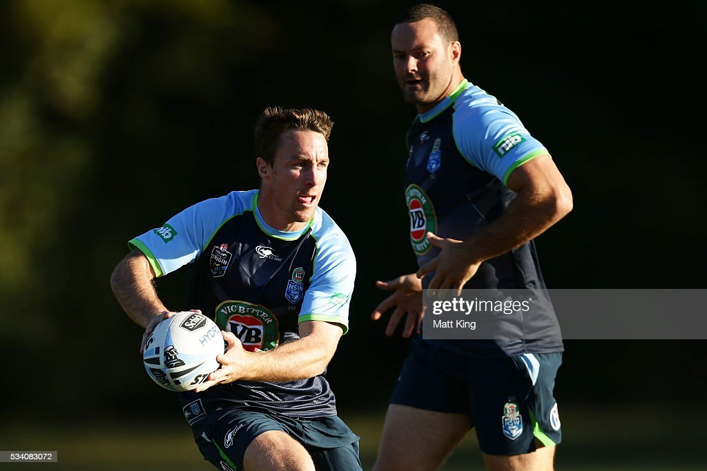 <a gi-track='captionPersonalityLinkClicked' href=/galleries/search?phrase=James+Maloney&family=editorial&specificpeople=2672556 ng-click='$event.stopPropagation()'>James Maloney</a> of the Blues runs with the ball during a New South Wales Blues State of Origin training session on May 25, 2016 in Coffs Harbour, Australia.