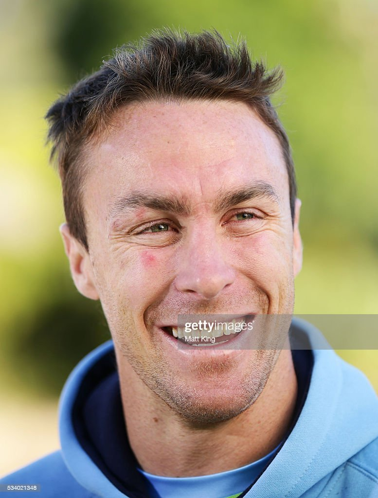 <a gi-track='captionPersonalityLinkClicked' href=/galleries/search?phrase=James+Maloney&family=editorial&specificpeople=2672556 ng-click='$event.stopPropagation()'>James Maloney</a> of the Blues speaks to the media during a New South Wales Blues State of Origin media session at the Novatel on May 25, 2016 in Coffs Harbour, Australia.