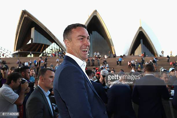 James Maloney of the CronullaSutherland Sharks laughs during the NRL Grand Final Fan Day at Sydney Opera House on September 29 2016 in Sydney...