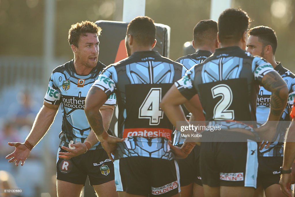 <a gi-track='captionPersonalityLinkClicked' href=/galleries/search?phrase=James+Maloney&family=editorial&specificpeople=2672556 ng-click='$event.stopPropagation()'>James Maloney</a> of the Sharks gives instruction to his players after a an Eagles try during the NRL Trial match between the Cronulla Sharks and the Manly Sea Eagles at Remondis Stadium on February 14, 2016 in Sydney, Australia.