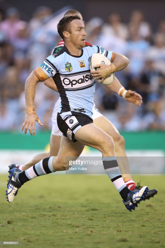 James Maloney of the Sharks runs the ball during the round three NRL match between the Cronulla Sharks and the St George Illawarra Dragons at Southern Cross Group Stadium on March 19, 2017 in Sydney, Australia.