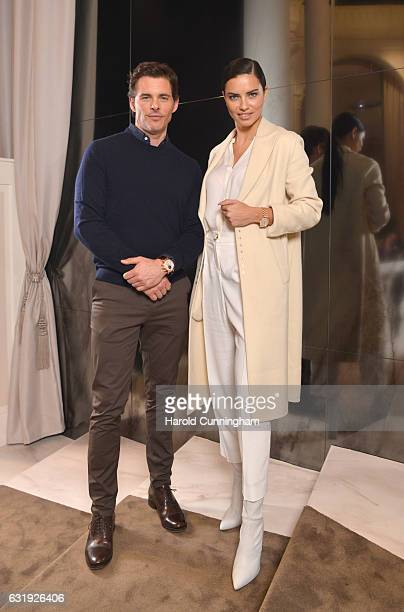 James Marsden and Adriana Lima visit the IWC booth during the launch of the Da Vinci Novelties from the Swiss luxury watch manufacturer IWC...