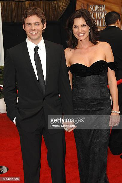 James Marsden and Lisa Linde attend The 14th Annual Screen Actors Guild Awards Arrivals at The Shrine Auditorium on January 27 2008 in Los Angeles CA