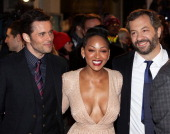 James Marsden Meagan Good and Judd Apatow attend the UK premiere of 'Anchorman 2 The Legend Continues' at the Vue West End on December 11 2013 in...