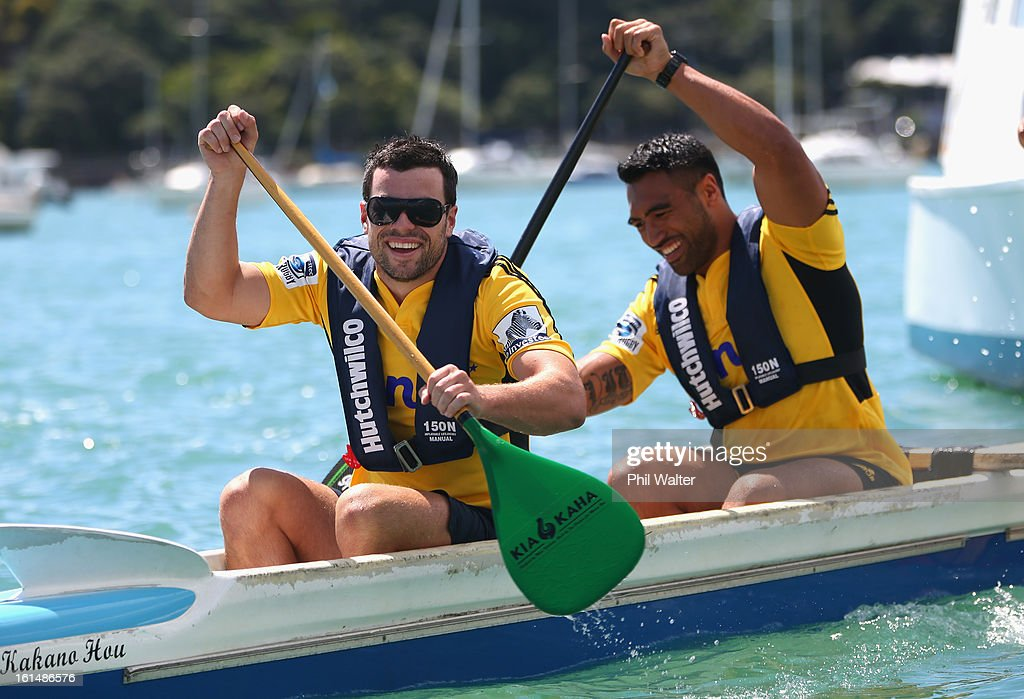 James Marshall and Victor Vito of the Hurricanes compete in a Wakaama challenge during the 2013 Super Rugby Season Launch at the Royal Akarana Yacht...