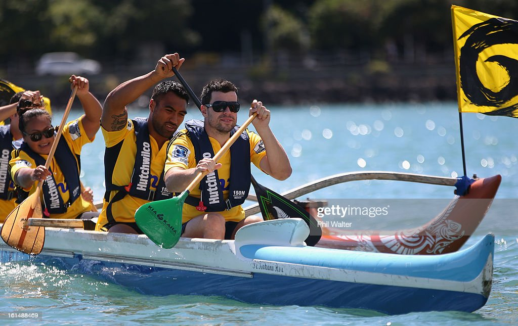 James Marshall and <a gi-track='captionPersonalityLinkClicked' href=/galleries/search?phrase=Victor+Vito&family=editorial&specificpeople=677327 ng-click='$event.stopPropagation()'>Victor Vito</a> of the Hurricanes compete in a Wakaama ( outrigger canoe) challenge during the 2013 Super Rugby Season Launch at the Royal Akarana Yacht Club on February 12, 2013 in Auckland, New Zealand.
