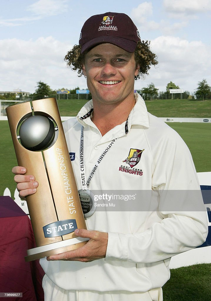 James Marshall Northern Knights captain holds the trophy after beating Canterbury in the State Championship Final between the Northern Knights and...
