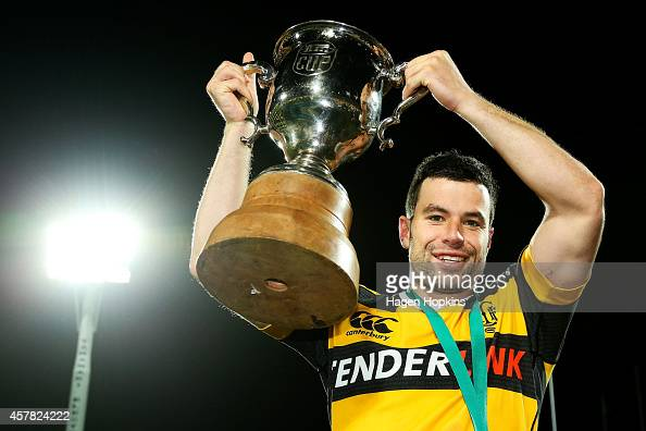 James Marshall of Taranaki holds the ITM Cup after winning the ITM Cup Premiership Final match between Taranaki and Tasman at Yarrow Stadium on...
