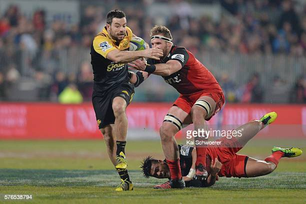 James Marshall of the Hurricanes charges forward during the round 17 Super Rugby match between the Crusaders and the Hurricanes at AMI Stadium on...