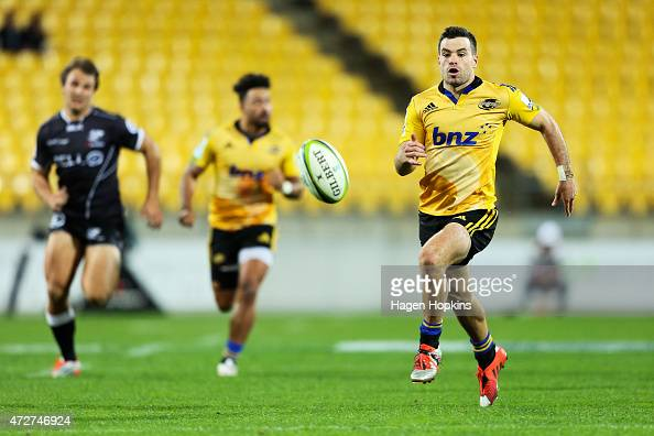 James Marshall of the Hurricanes chases a loose ball during the round 13 Super Rugby match between the Hurricanes and the Sharks at Westpac Stadium...