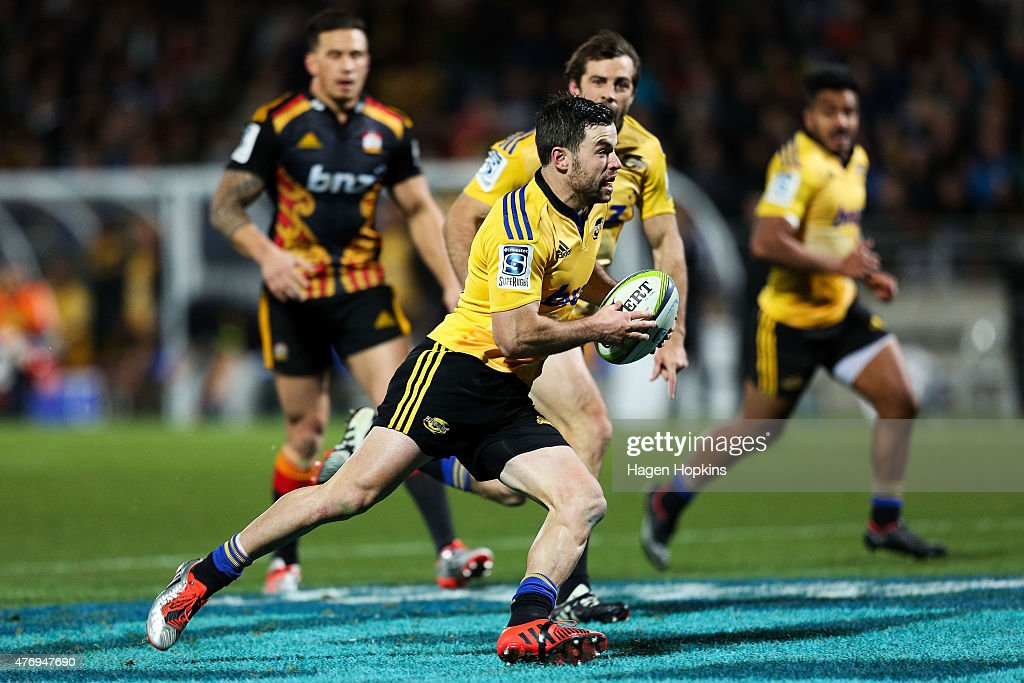 James Marshall of the Hurricanes in action during the round 18 Super Rugby match between the Chiefs and the Hurricanes at Yarrow Stadium on June 13...