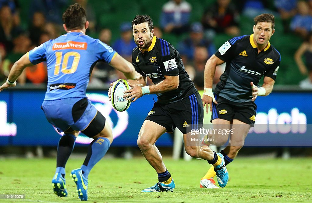 James Marshall of the Hurricanes in action during the round three Super Rugby match between the Western Force and the Hurricanes at nib Stadium on...