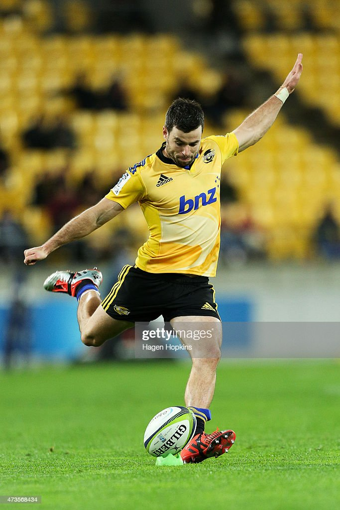 James Marshall of the Hurricanes kicks during the round 14 Super Rugby match between the Hurricanes and the Chiefs at Westpac Stadium on May 16 2015...