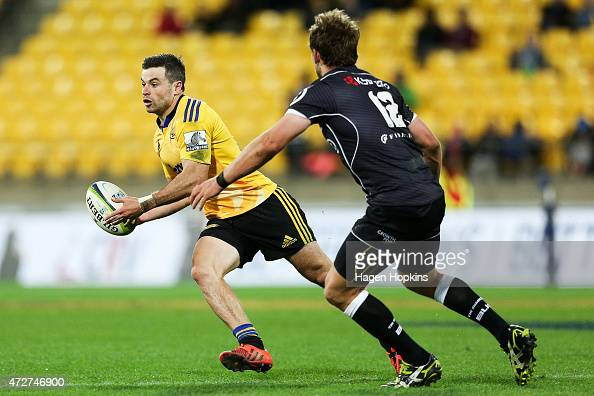 James Marshall of the Hurricanes looks to pass during the round 13 Super Rugby match between the Hurricanes and the Sharks at Westpac Stadium on May...