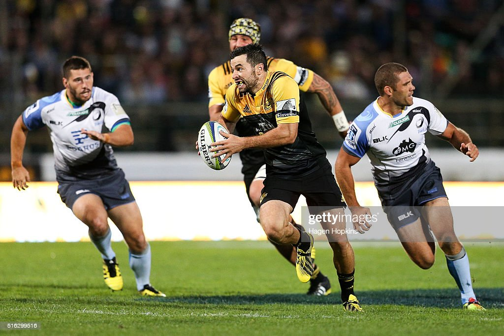 James Marshall of the Hurricanes makes a break during the round four Super Rugby match between the Hurricanes and the Force on March 18 2016 in...