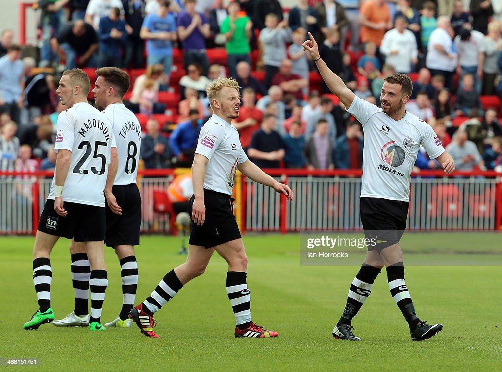 James Marwood celebrates his opening goal during the Skrill Conference Premier Play Offs Semi Final second leg match between Gateshead and Grimsby...