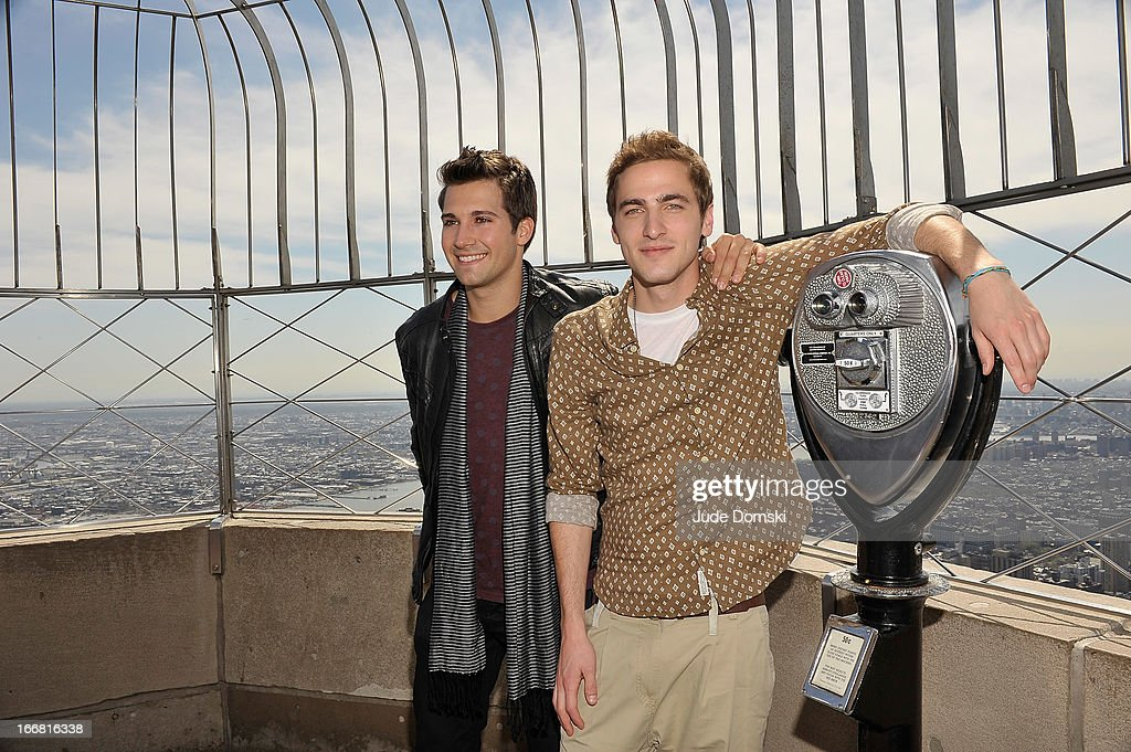 <a gi-track='captionPersonalityLinkClicked' href=/galleries/search?phrase=James+Maslow&family=editorial&specificpeople=6522849 ng-click='$event.stopPropagation()'>James Maslow</a> and <a gi-track='captionPersonalityLinkClicked' href=/galleries/search?phrase=Kendall+Schmidt&family=editorial&specificpeople=6326531 ng-click='$event.stopPropagation()'>Kendall Schmidt</a> from the American boy band Big Time Rush visit The Empire State Building on April 17, 2013 in New York City.