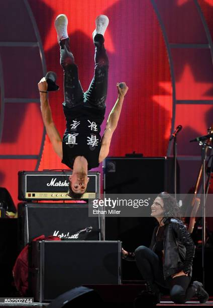 James Maslow does a backflip as he performs during the 2017 iHeartRadio Music Festival at TMobile Arena on September 22 2017 in Las Vegas Nevada