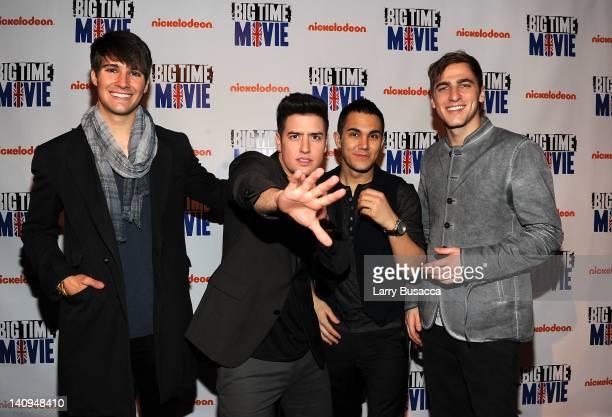 James Maslow Logan Henderson Carlos Pena Jr and Kendall Schmidt of Big Time Rush attend Nickelodeon Hosts Orange Carpet Premiere For Original TV...