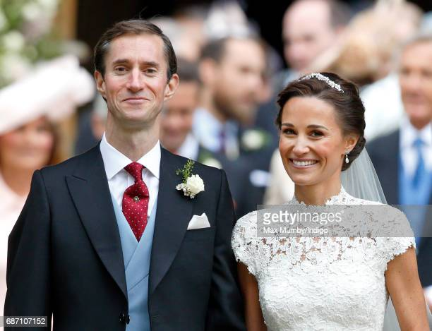 James Matthews and Pippa Middleton leave St Mark's Church after their wedding on May 20 2017 in Englefield Green England