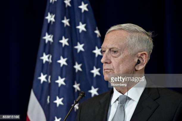 James Mattis US secretary of defense listens at a news conference during the Security Consultative Committee meeting at the State Department in...