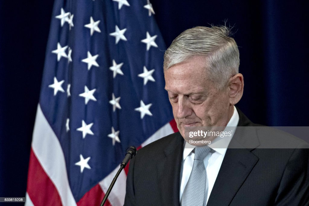 James Mattis, U.S. secretary of defense, listens at a news conference during the Security Consultative Committee (2+2) meeting at the State Department in Washington, D.C., U.S., on Thursday, Aug. 17, 2017. The Japanese and U.S. defense and foreign ministers are meeting to discuss how to strengthen their missile defense capabilities following North Korea's firing of two intercontinental ballistic missiles in July. Photographer: Andrew Harrer/Bloomberg via Getty Images