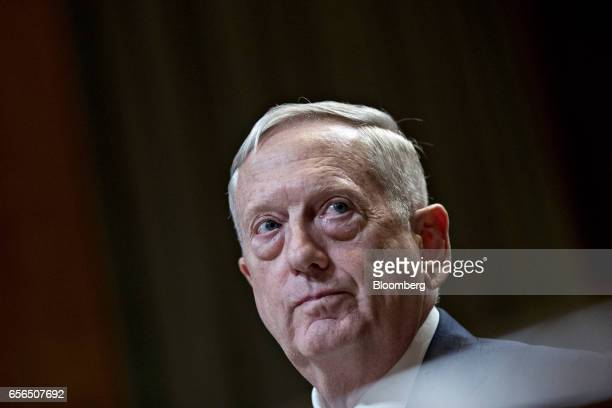 James Mattis US secretary of defense listens during a Senate Appropriations Subcommittee hearing in Washington DC US on Wednesday March 22 2017 The...