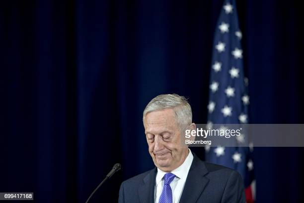 James Mattis US secretary of defense pauses while speaking during a news conference with Rex Tillerson US secretary of State not pictured following...
