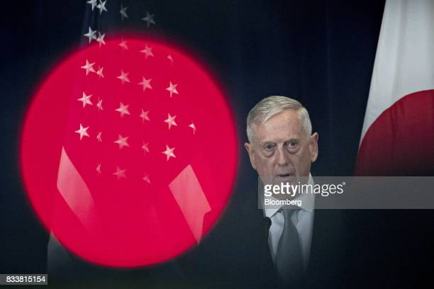 James Mattis US secretary of defense speaks at a news conference during the Security Consultative Committee meeting at the State Department in...