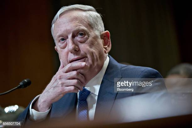 James Mattis US secretary of defense speaks during a Senate Appropriations Subcommittee hearing in Washington DC US on Wednesday March 22 2017 The $5...