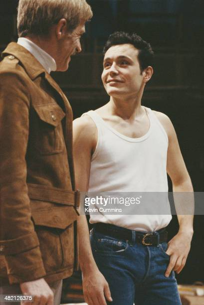 James Maxwell as Ed and English singer and actor Adam Ant as Sloane in Joe Orton's play 'Entertaining Mr Sloane' at the Royal Exchange Manchester...