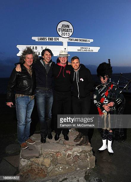 James May Professor Brian Cox Chris Evans and Gary Barlow complete the FAB1 Million drive from Land's End to John O'Groats on April 19 2013 in John...