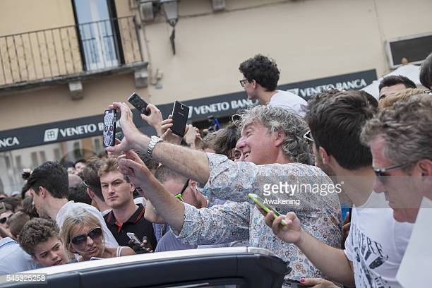James May takes a selfie with fans at Piazza dei Signori during the filming for their new Amazon TV Programme 'The Grand Tour ' on July 7 2016 in...