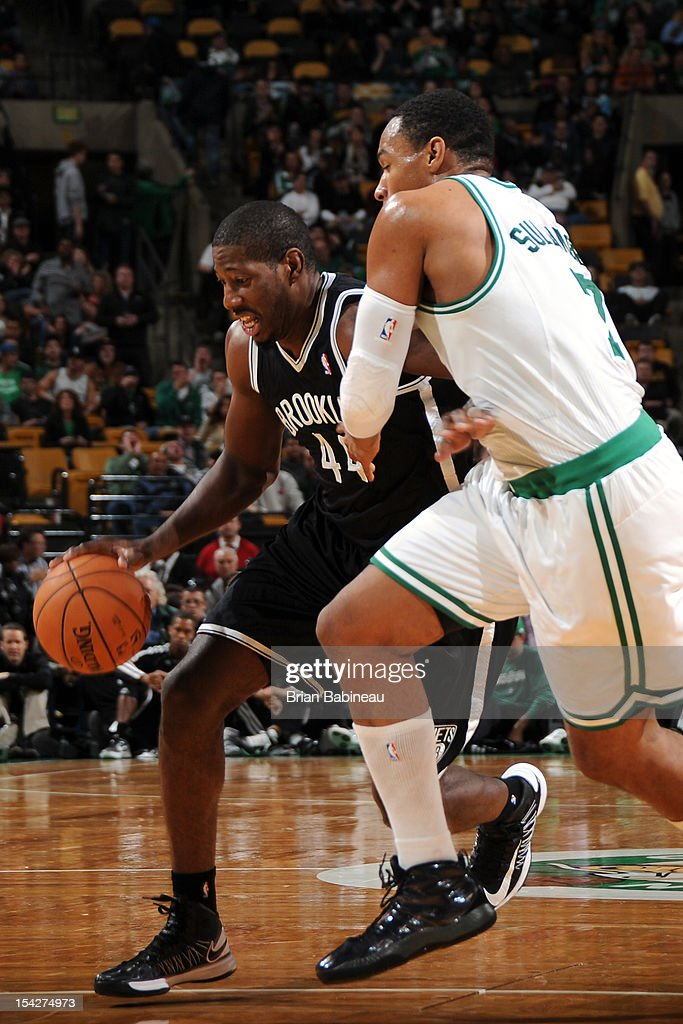 James Mays #44 of the Brooklyn Nets drives to the basket against the Boston Celtics on October 16, 2012 at the TD Garden in Boston, Massachusetts.