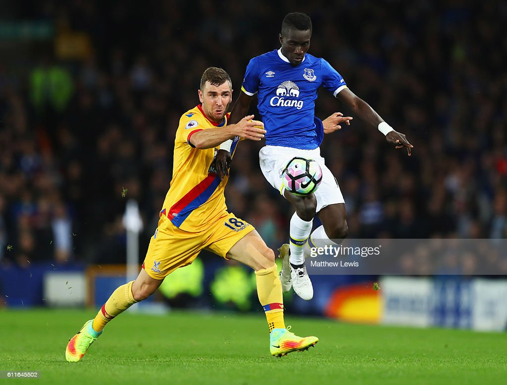 James McArthur of Crystal Palace and Idrissa Gueye of Everton battle for the ball during the Premier League match between Everton and Crystal Palace at Goodison Park on September 30, 2016 in Liverpool, England.