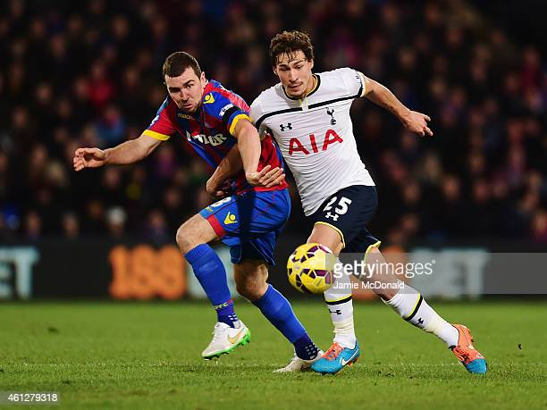 James McArthur of Crystal Palace battles with Benjamin Stambouli of Spurs during the Barclays Premier League match between Crystal Palace and...