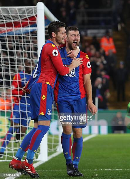 James McArthur of Crystal Palace celebrates scoring his sides first goal with Joel Ward of Crystal Palace during the Premier League match between...
