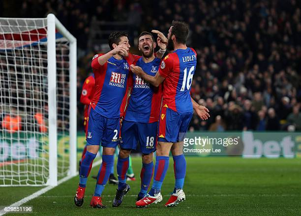 James McArthur of Crystal Palace celebrates scoring his sides first goal with Joe Ledley of Crystal Palace and Joel Ward of Crystal Palace during the...