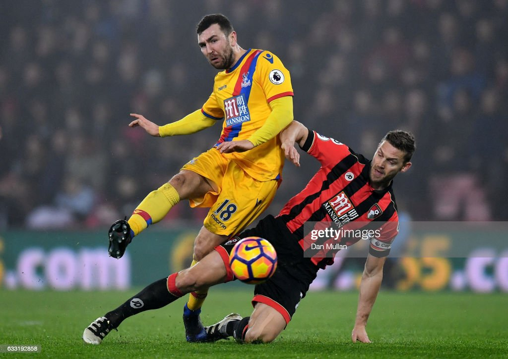 James McArthur of Crystal Palace is tackled by Simon Francis of AFC Bournemouth during the Premier League match between AFC Bournemouth and Crystal Palace at Vitality Stadium on January 31, 2017 in Bournemouth, England.