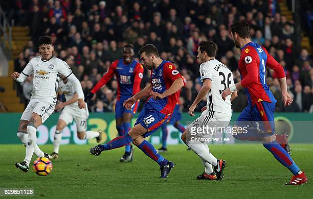 James McArthur of Crystal Palace scores his sides first goal during the Premier League match between Crystal Palace and Manchester United at Selhurst...
