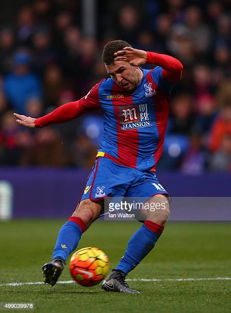 James McArthur of Crystal Palace scores his team's first goal during the Barclays Premier League match between Crystal Palace and Newcastle United at...